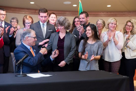 Gov. Inslee signs Substitute House Bill No. 1543, May 5, 2017. Relating to parental rights and responsibilities of sexual assault perpetrators and survivors.   Primary Sponsor: Beth Doglio