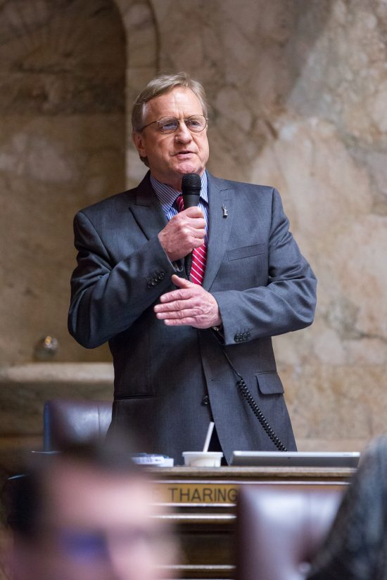 Rep. Steve Tharinger (D-Dungeness) speaking on the floor of the House of Representatives during the 2017 session.