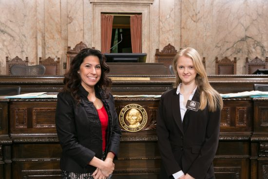 House Page Alina with Rep. Monica Stonier