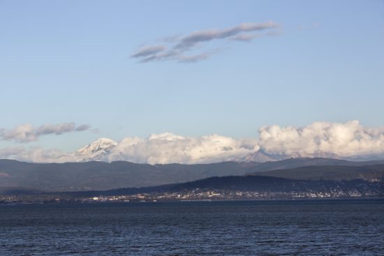 40th Legislative District. Mount Baker with Bellingham and Fairhaven, WA. Viewed from Lummi Shore Rd.