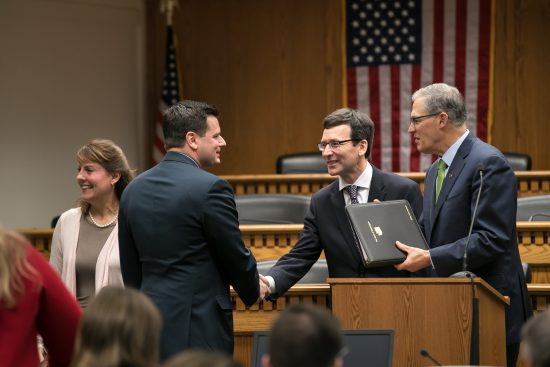 Rep. Sawyer with AG Bob Ferguson and Governor Jay Inslee at the AP Legislative Forum on January 4, 2018.