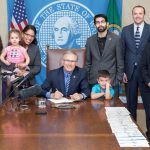Gov. Inslee signs Substitute House Bill No. 2367, March 15, 2018. Relating to establishing a child care collaborative task force. Primary Sponsor: Kristine Reeves