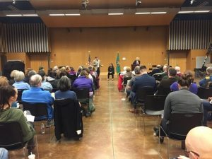 Reps. Mike Pellicciotti & Kristine Reeves at a town hall in Federal Way Spring 2018