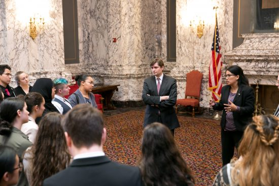 Rep. Kristine Reeves and Mike Pellicciotti meet with Advancing Leadership Youth, Feb. 28, 2018.