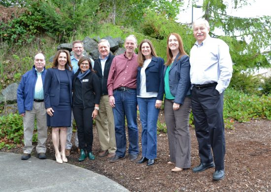 Lawmakers, local officials and stakeholders met in Port Angeles on May 10 to focus on rural economic development. From left to right: Rep. Mike Sells, Commissioner of Public Lands Hilary Franz, Rep. Mike Chapman, Rep. Vandana Slatter, Rep. Steve Tharinger, Rep. Jake Fey, Rep. Tana Senn, Rep. Noel Frame and Speaker of the House Frank Chopp. Photo by Guy Bergstrom, courtesy of the House of Representatives.