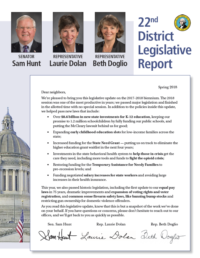 The 2018 district mailer from 22nd Legislative District members Sen. Sam Hunt, Reps. Laurie Dolan and Beth Doglio