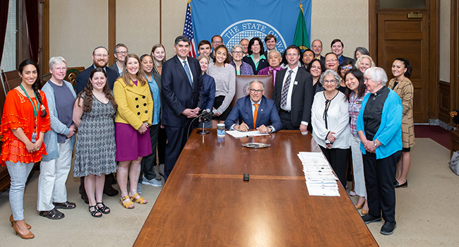 Gov. Inslee signs Engrossed Substitute House Bill No. 1732, May 7, 2019. Relating to identifying and responding to bias-based criminal offenses. Primary Sponsor: Javier Valdez