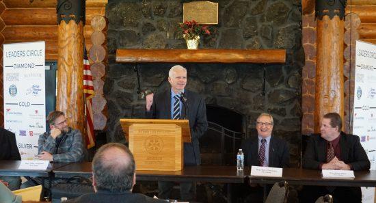 Sen. Kevin Van De Wege (D-Sequim) speaks at the Aberdeen Rotary Log Pavillion during the 2020 legislative send-off. Photo by Guy Bergstrom courtesy of the Washington state House of Representatives.