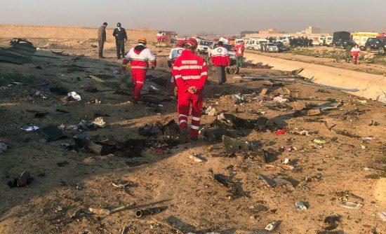 Debris from a Boeing 737 plane crash outside Tehran, Iran