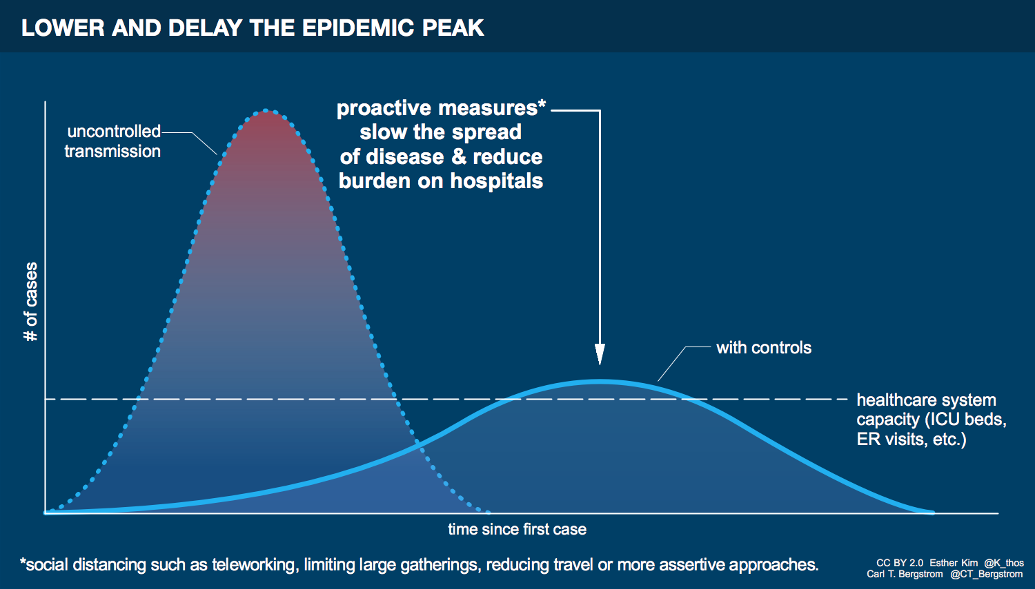 Graphic showing the difference between uncontrolled transmission and using protective measures such as social distancing to lower and delay the epidemic peak