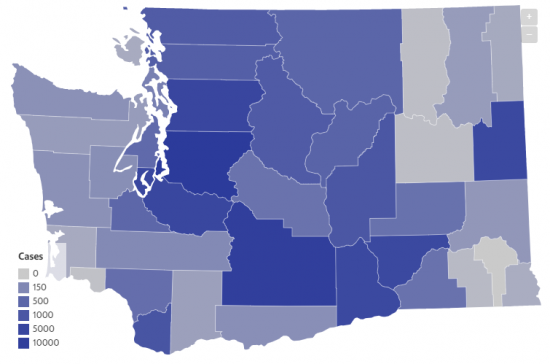 Map depicting COVID-19 cases by county in Washington state