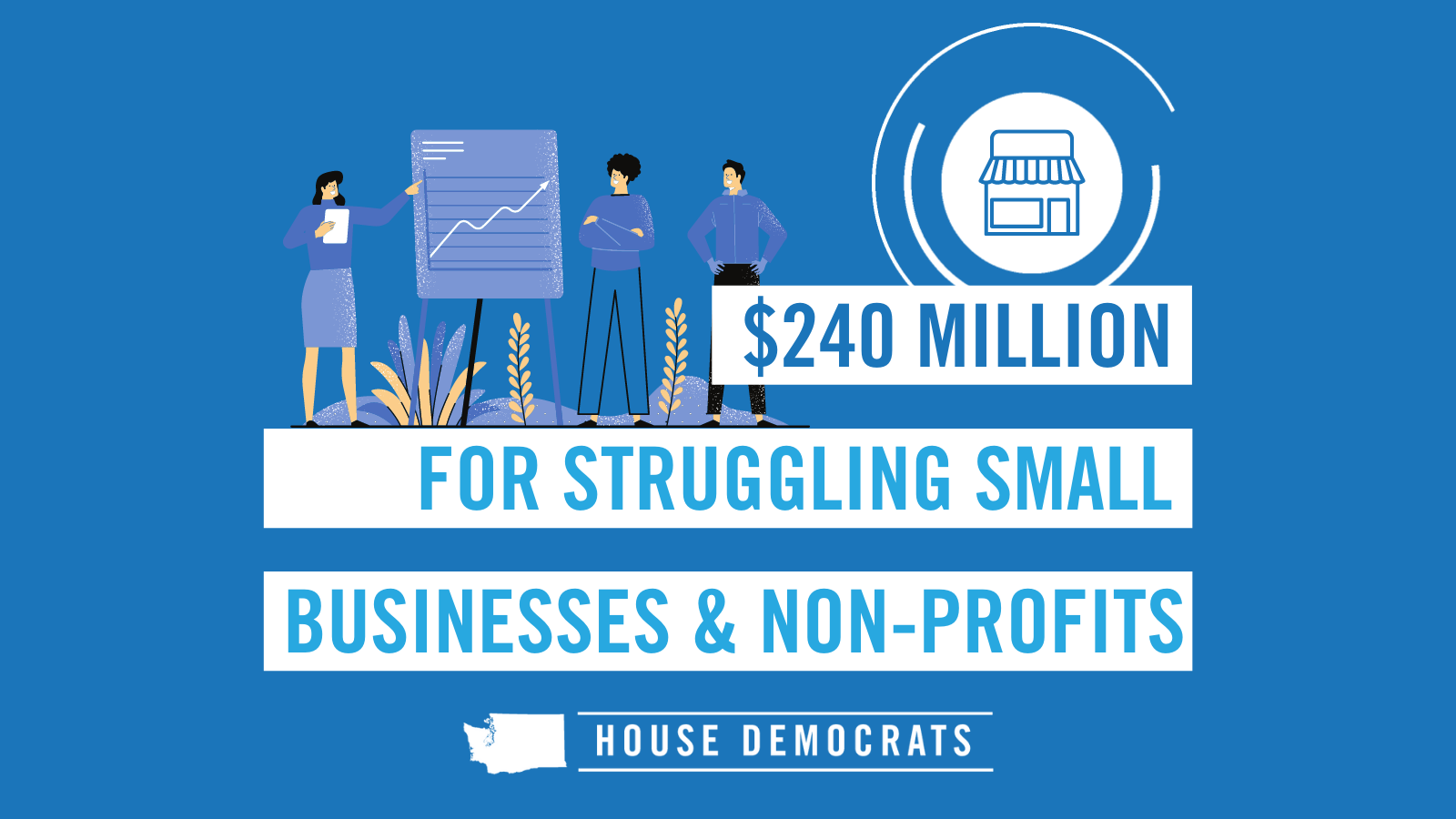 Slide that says $240 million for struggling small businesses & non-profits