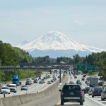 Shot of I-5 s/b with Mt Rainier in background, South Seattle