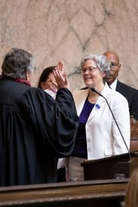 Representative Laurie Jinkins being sworn in as Speaker
