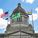 pride flag flying on the capitol campus