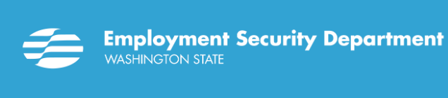 Light blue banner with Employment Security Department Washington State in white lettering