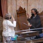 Speaker Jinkins being sworn in by WA Supreme Court Justice G. Helen WhitenerJustice