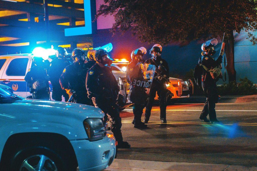 Police car lights at night