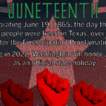 Juneteenth graphic with three raised fists and caption