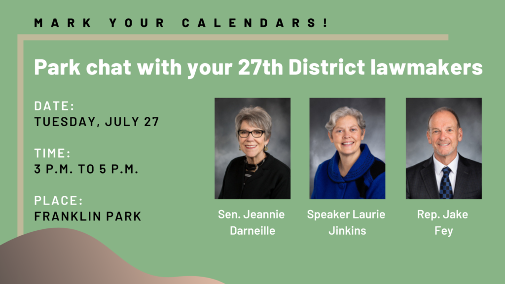 Park Chat announcement with photos of all three 27th district legislators