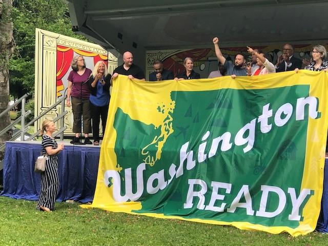 Washington Ready banner unfurled on state in Wright Park, Tacoma