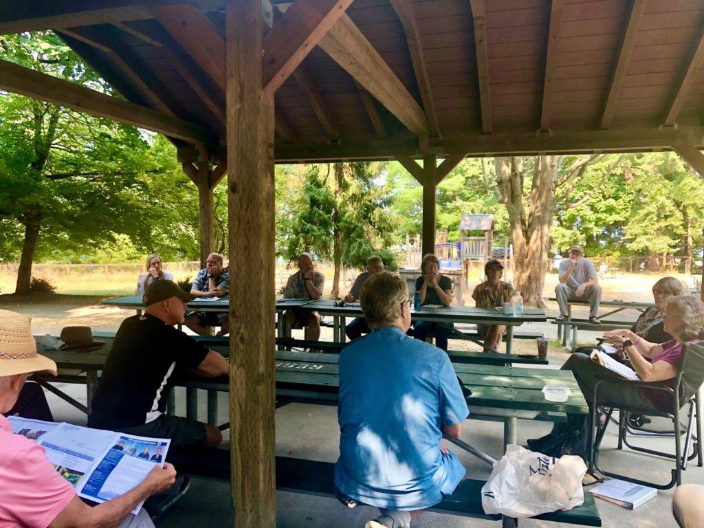 Point Defiance park chat event under picnic shelter
