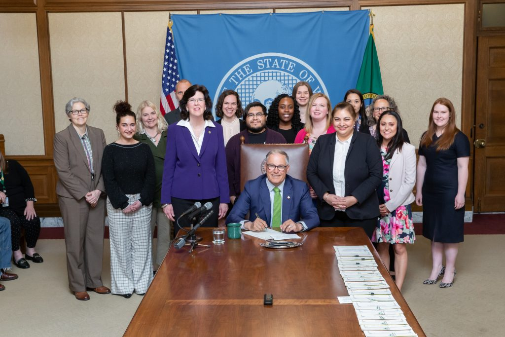 Gov. Inslee signs House Bill No. 1066, April 30, 2019. Relating to the service of legal actions to collect a debt by a collection agency. Primary Sponsor: Christine Kilduff