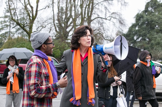 Representative Christine Kilduff speaks at a Mockingbird Society Youth Advocacy Day rally