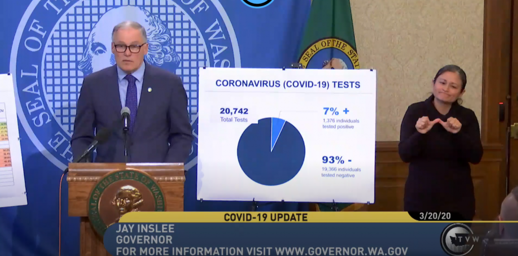 Governor Inslee speaking at a press conference
