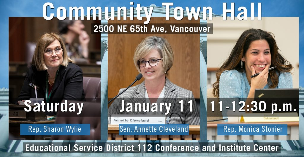 Banner with photos of all three 49th LD members and town hall info
