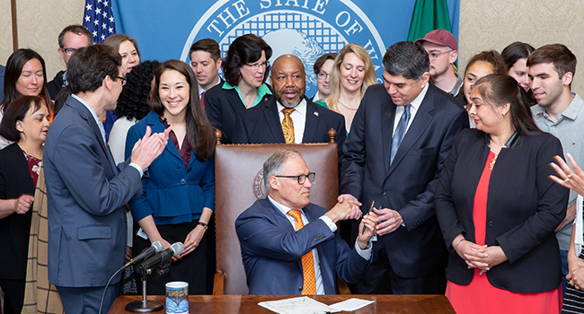 Gov. Inslee signs Substitute House Bill No. 1739, May 7, 2019. Relating to firearms that are undetectable or untraceable. Primary Sponsor: Javier Valdez