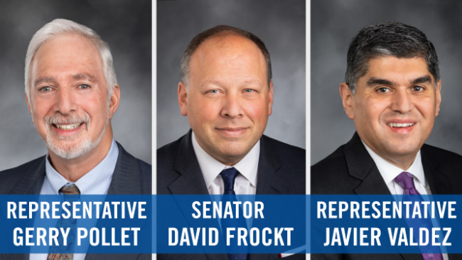 Banner with all three legislator official portraits
