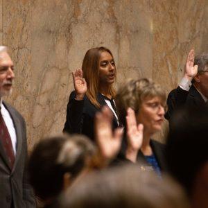 Rep. Melanie Morgan taking oath of office on House floor
