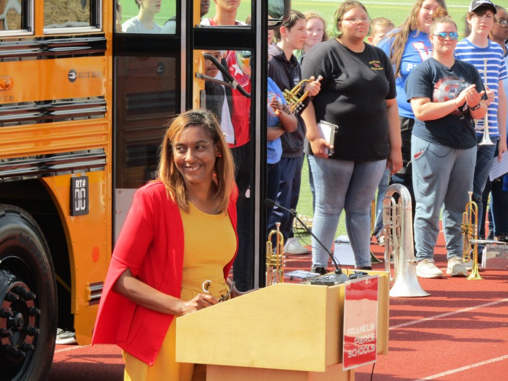 Rep. Morgan speaks at Franklin Pierce bus event