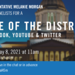 Graphic with the capitol dome in background announcing state of district roundtable community event