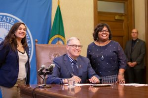 Gov. Inslee signs House Bill No. 1055, April 8, 2019. Relating to authorizing law enforcement to arrest persons in violation of certain no- contact orders involving victims of trafficking and promoting prostitution offenses. Primary Sponsor: Debra Entenman