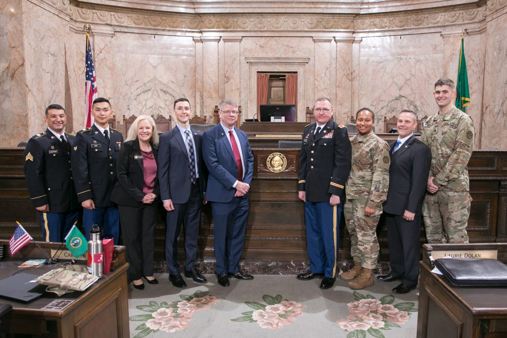 Reps. Leavitt and Dufault with guests representing the U.S. Army Reserve, April 23, 2019.