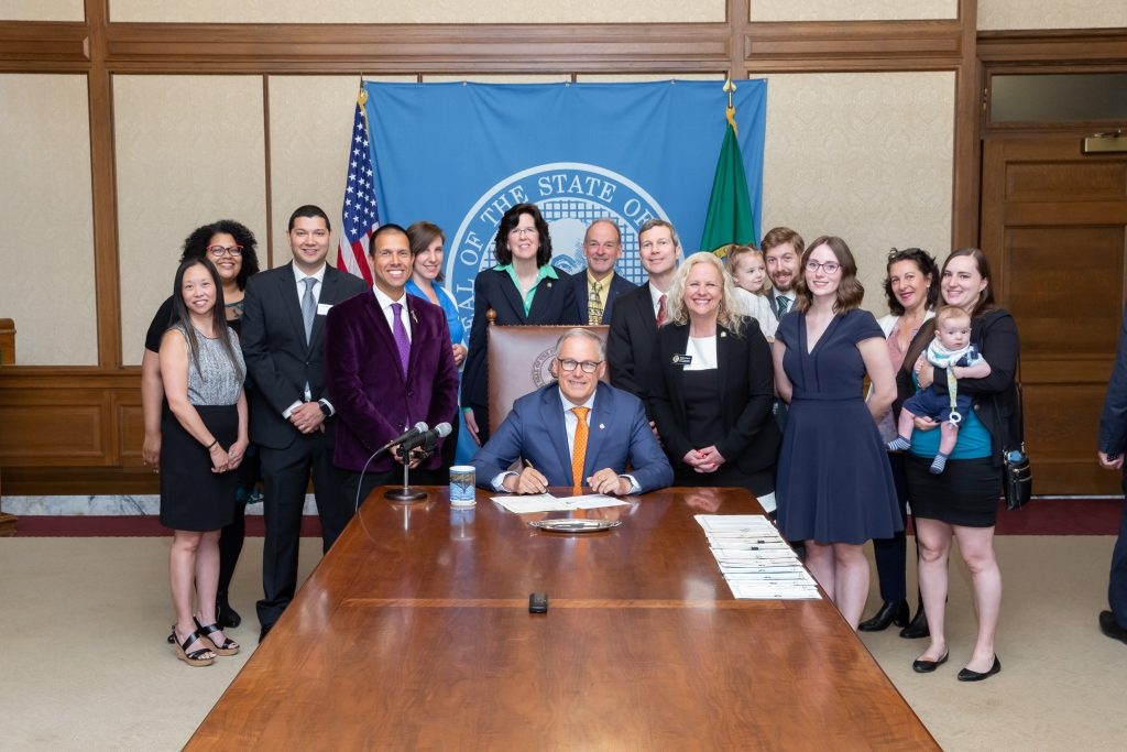Gov. Inslee signs Substitute House Bill No. 1734, May 7, 2019. Relating to accreditation standards for college in the high school programs. Primary Sponsor: Mari Leavitt