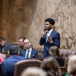 Representative Jesse Johnson speaking on the floor of the House of Representatives, Jan. 20, 2020, Martin Luther King Jr. resolution.