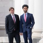 Representatives Jesse Johnson and Mike Pellicciotti on the steps of the capitol