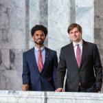 Representatives Jesse Johnson and Mike Pellicciotti in the capitol building.