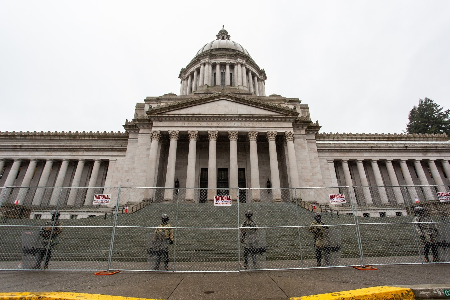 National Guard soldiers in front of the State Capitol
