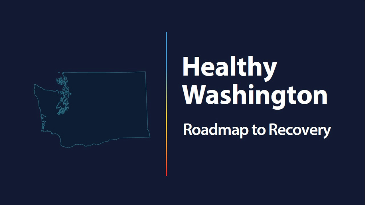 An image with Washington State on the left and text on the right that says Healthy Washington Roadmap to Recovery
